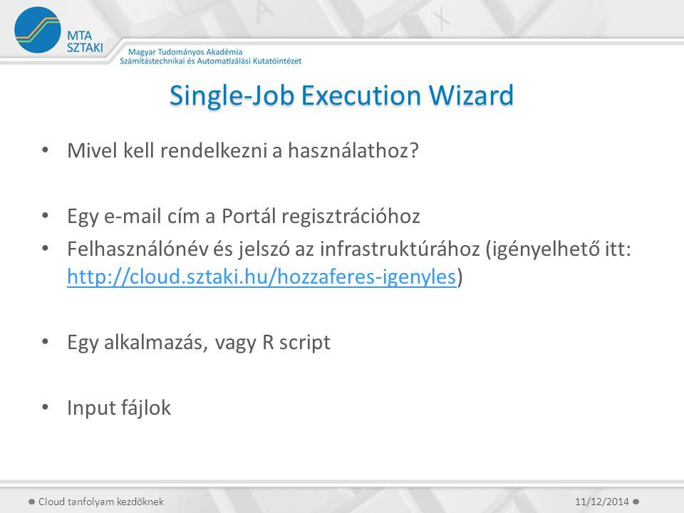 Single-Job Execution Wizard Mivel kell rendelkezni a használathoz? Egy e-mail cím a Portál regisztrációhoz Felhasználónév és jelszó az infrastruktúráh