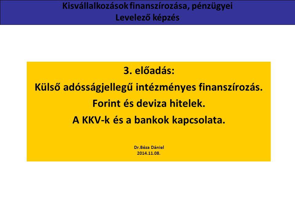 3. előadás: Külső adósságjellegű intézményes finanszírozás. Forint és deviza hitelek. A KKV-k és a bankok kapcsolata. Dr.Béza Dániel 2014.11.08. Kisvá