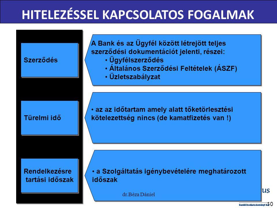 10 Szerződés A Bank és az Ügyfél között létrejött teljes szerződési dokumentációt jelenti, részei: Ügyfélszerződés Általános Szerződési Feltételek (ÁSZF) Üzletszabályzat A Bank és az Ügyfél között létrejött teljes szerződési dokumentációt jelenti, részei: Ügyfélszerződés Általános Szerződési Feltételek (ÁSZF) Üzletszabályzat Türelmi idő az az időtartam amely alatt tőketörlesztési kötelezettség nincs (de kamatfizetés van !) Rendelkezésre tartási időszak Rendelkezésre tartási időszak a Szolgáltatás igénybevételére meghatározott időszak HITELEZÉSSEL KAPCSOLATOS FOGALMAK dr.Béza Dániel