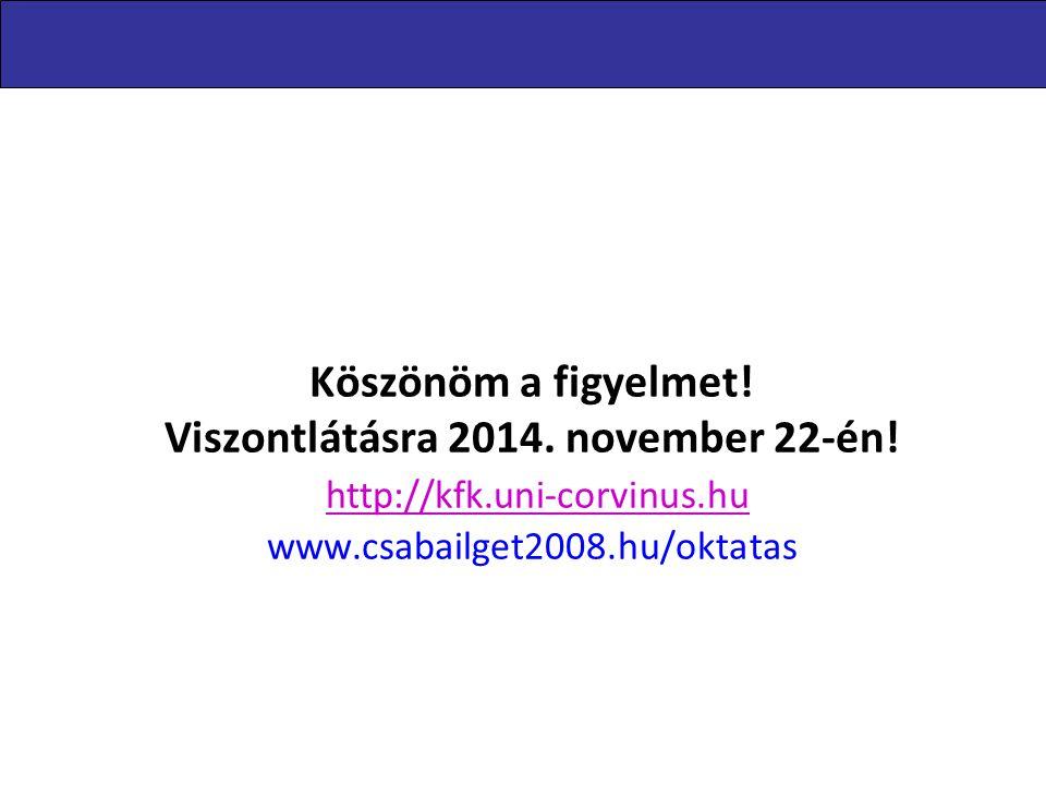 Köszönöm a figyelmet! Viszontlátásra 2014. november 22-én! http://kfk.uni-corvinus.hu www.csabailget2008.hu/oktatas http://kfk.uni-corvinus.hu