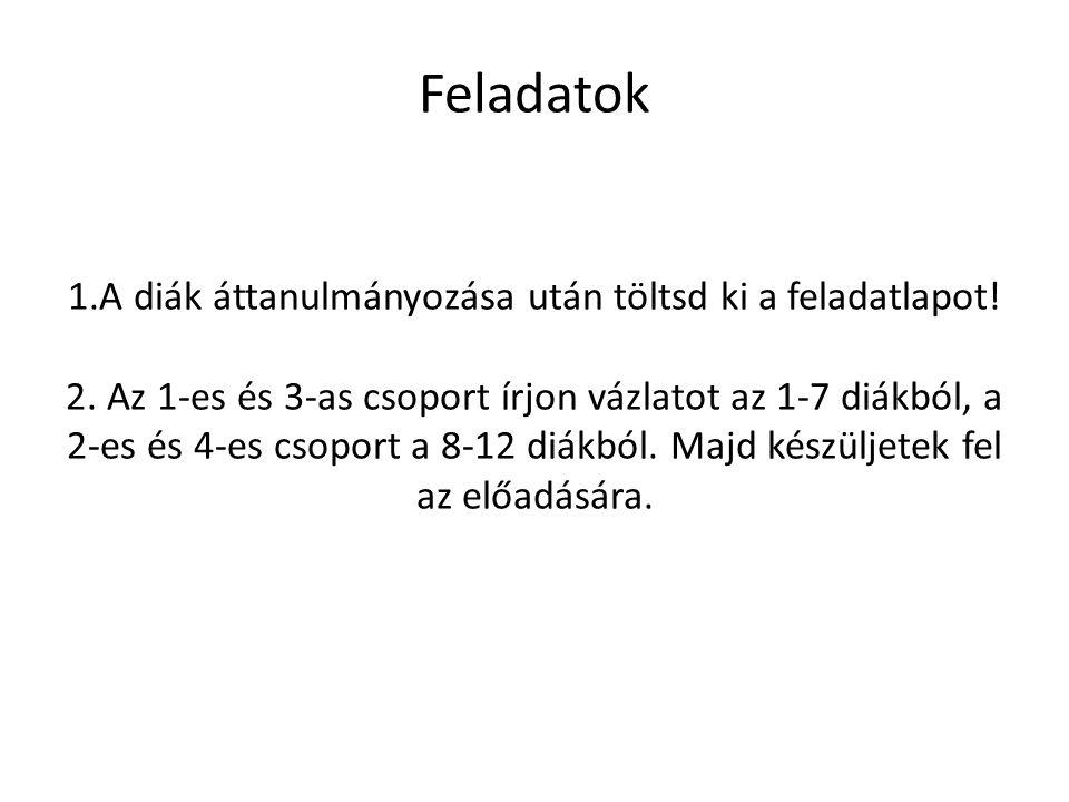 Feladatok 1.A diák áttanulmányozása után töltsd ki a feladatlapot! 2. Az 1-es és 3-as csoport írjon vázlatot az 1-7 diákból, a 2-es és 4-es csoport a