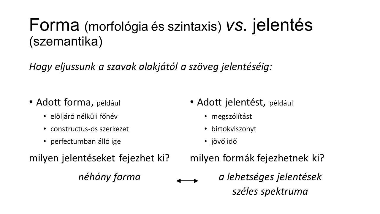 Forma (morfológia és szintaxis) vs.