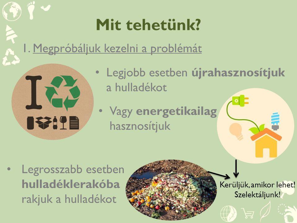 Mit tehetünk? 1.Megpróbáljuk kezelni a problémát Legjobb esetben újrahasznosítjuk a hulladékot Vagy energetikailag hasznosítjuk Legrosszabb esetben hu