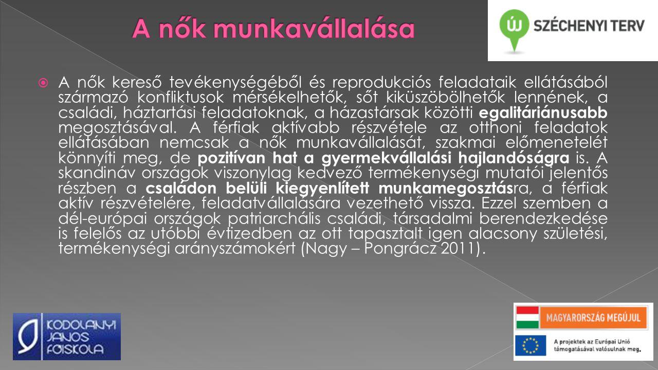  A nők kereső tevékenységéből és reprodukciós feladataik ellátásából származó konfliktusok mérsékelhetők, sőt kiküszöbölhetők lennének, a családi, háztartási feladatoknak, a házastársak közötti egalitáriánusabb megosztásával.