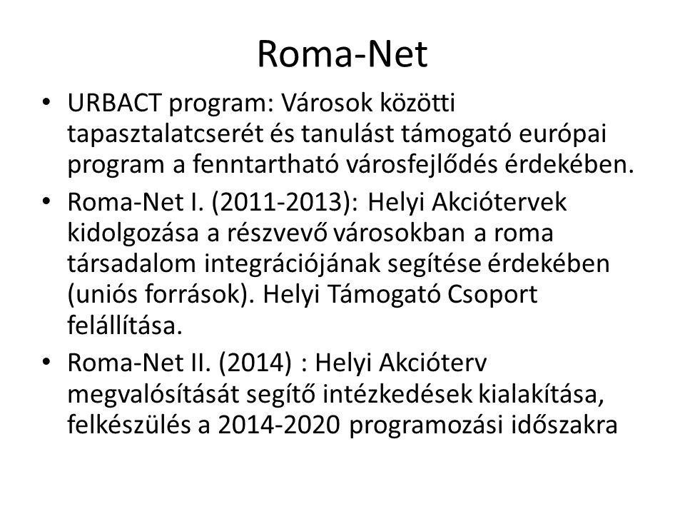 Roma-Net URBACT program: Városok közötti tapasztalatcserét és tanulást támogató európai program a fenntartható városfejlődés érdekében.