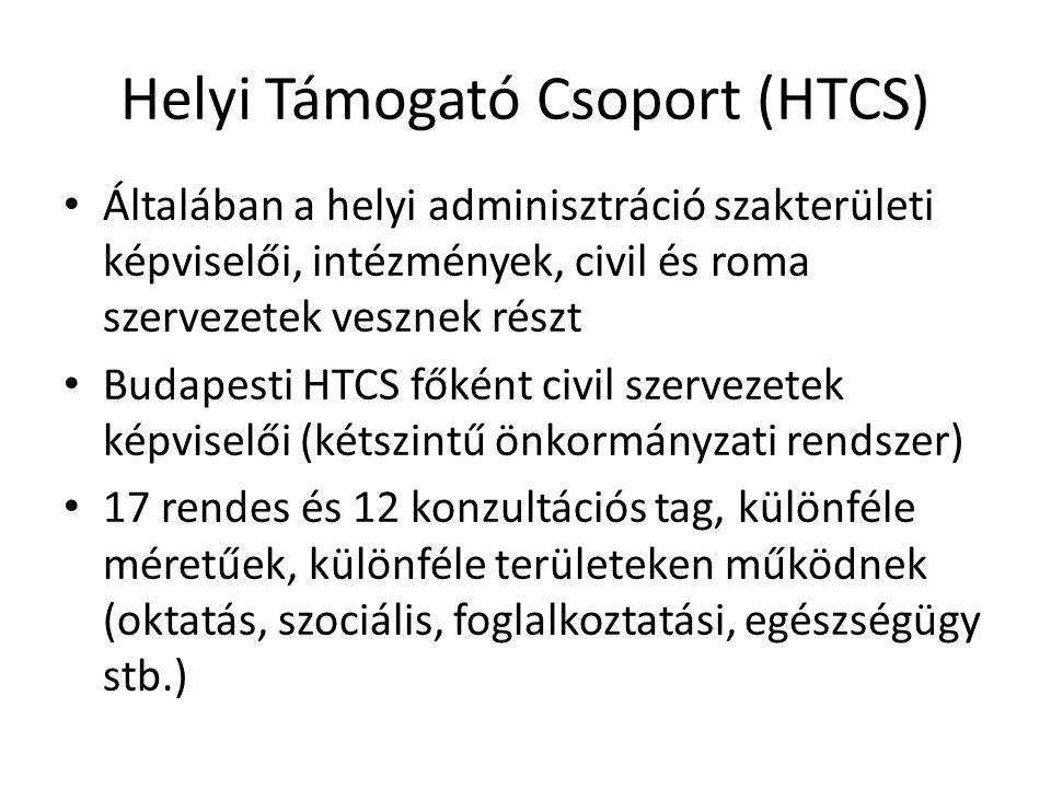 Helyi Támogató Csoport (HTCS) Általában a helyi adminisztráció szakterületi képviselői, intézmények, civil és roma szervezetek vesznek részt Budapesti HTCS főként civil szervezetek képviselői (kétszintű önkormányzati rendszer) 17 rendes és 12 konzultációs tag, különféle méretűek, különféle területeken működnek (oktatás, szociális, foglalkoztatási, egészségügy stb.)
