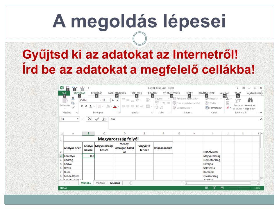 A megoldás lépesei Gyűjtsd ki az adatokat az Internetről! Írd be az adatokat a megfelelő cellákba!