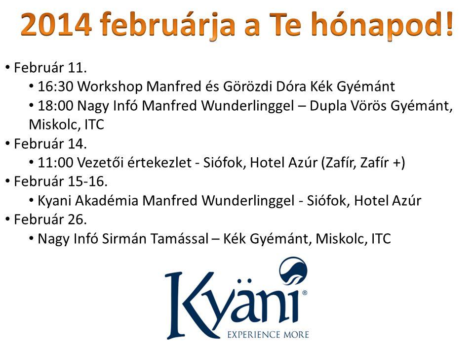 Február 11. 16:30 Workshop Manfred és Görözdi Dóra Kék Gyémánt 18:00 Nagy Infó Manfred Wunderlinggel – Dupla Vörös Gyémánt, Miskolc, ITC Február 14. 1