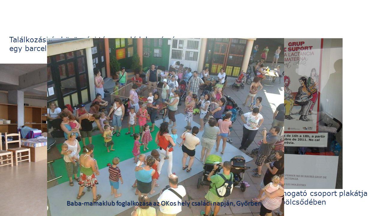 Találkozási és közösségi tér a családok számára egy barcelonai bölcsőde emeletén A szoptatást támogató csoport plakátja egy barcelonai bölcsődében Baba-mamaklub foglalkozása az OKos hely családi napján, Győrben