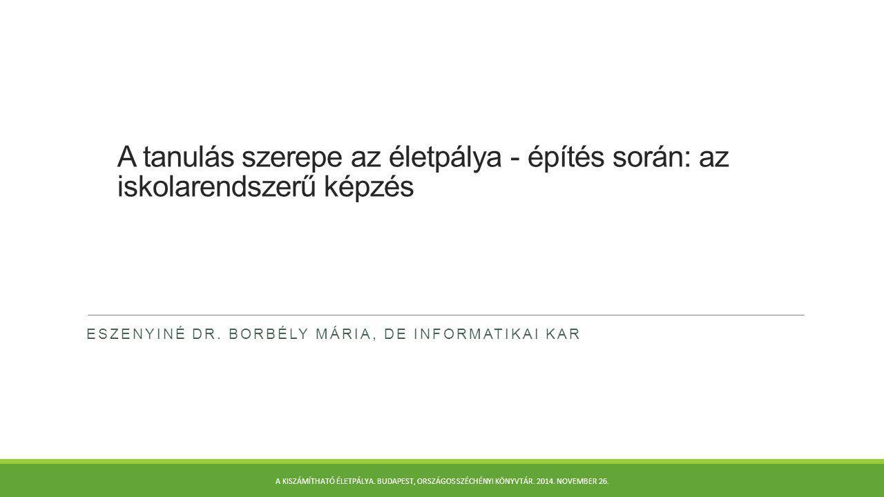 A felsőfokú könyvtárosképzés felsőoktatási környezete A könyvtárosképzés szintjei ma Magyarországon:  asszisztens  segédkönyvtáros  informatikus könyvtáros alapképzési szak (BA)  informatikus könyvtáros mesterképzési szak (MA)  könyvtárpedagógia-tanár mesterképzési szak (MA)  osztatlan tanári-könyvtárostanár  doktori képzés Valamennyi képzési szint megtartása kívánatos és szükséges.