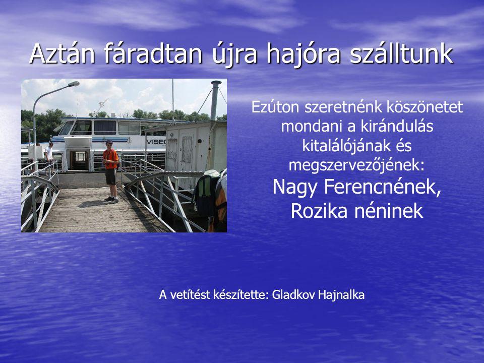 Aztán fáradtan újra hajóra szálltunk Ezúton szeretnénk köszönetet mondani a kirándulás kitalálójának és megszervezőjének: Nagy Ferencnének, Rozika néninek A vetítést készítette: Gladkov Hajnalka