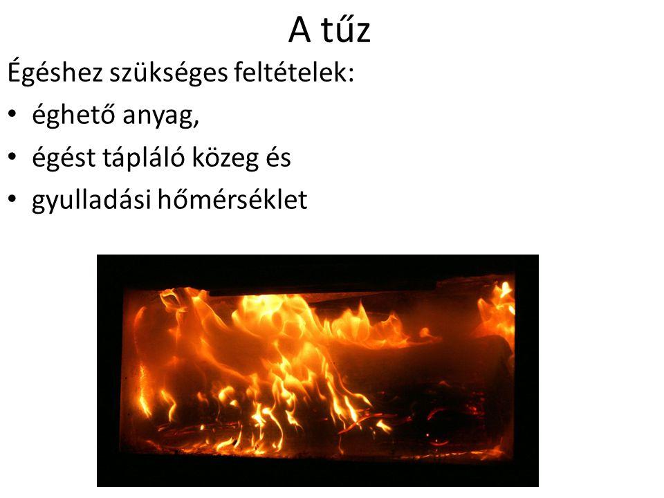 A tűz Égéshez szükséges feltételek: éghető anyag, égést tápláló közeg és gyulladási hőmérséklet