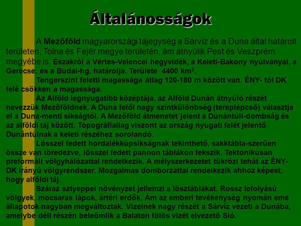 Általánosságok A Mezőföld magyarországi tájegység a Sárvíz és a Duna által határolt területen, Tolna és Fejér megye területén, ám átnyúlik Pest és Ves