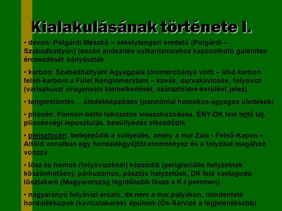 Kialakulásának története I. devon: Polgárdi Mészkő – sekélytengeri eredetű (Polgárdi – Szabadbattyán) (eocén andezites vulkanizmushoz kapcsolható gale