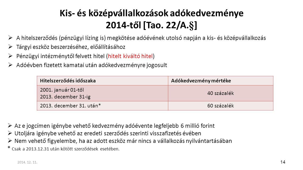 Kis- és középvállalkozások adókedvezménye 2014-től [Tao. 22/A.§]  A hitelszerződés (pénzügyi lízing is) megkötése adóévének utolsó napján a kis- és k