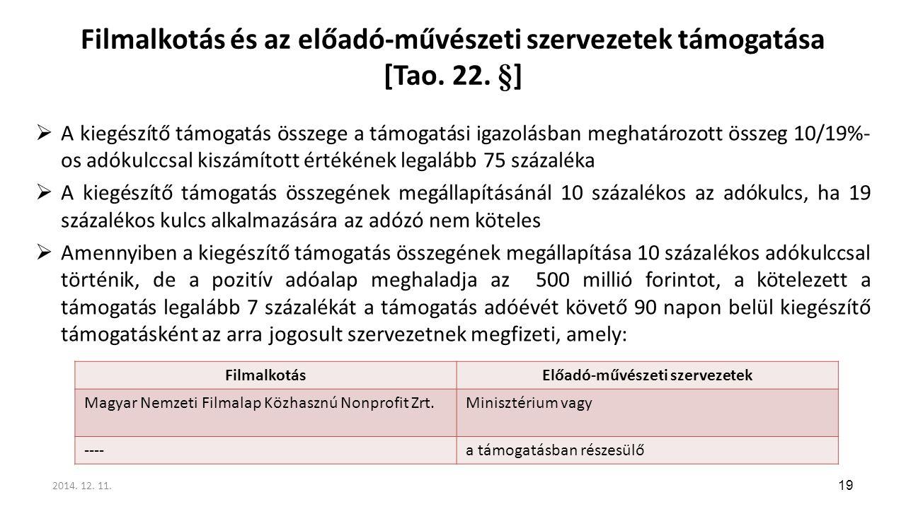 Filmalkotás és az előadó-művészeti szervezetek támogatása [Tao. 22. §]  A kiegészítő támogatás összege a támogatási igazolásban meghatározott összeg