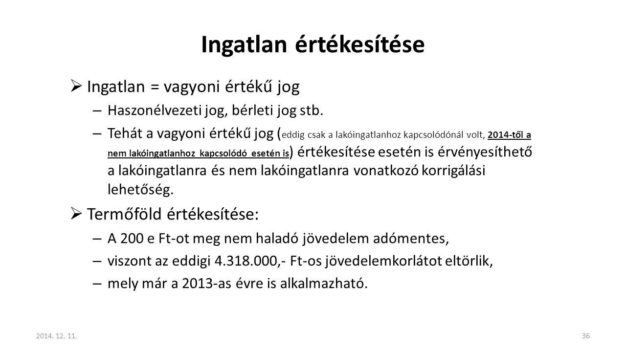 Ingatlan értékesítése  Ingatlan = vagyoni értékű jog – Haszonélvezeti jog, bérleti jog stb. – Tehát a vagyoni értékű jog ( eddig csak a lakóingatlanh