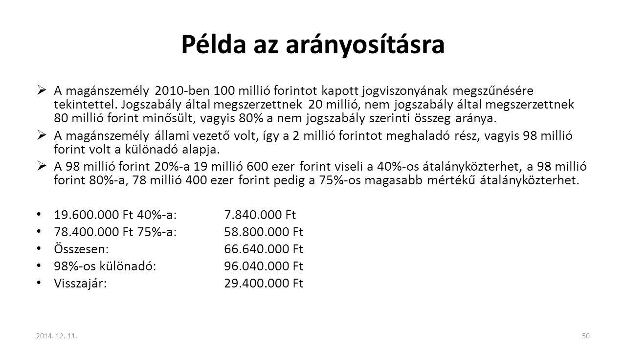 Példa az arányosításra  A magánszemély 2010-ben 100 millió forintot kapott jogviszonyának megszűnésére tekintettel. Jogszabály által megszerzettnek 2