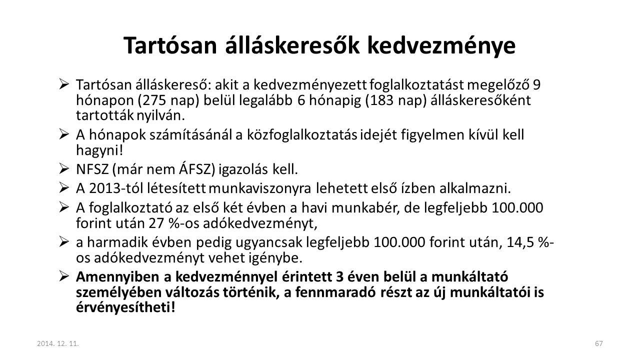 Tartósan álláskeresők kedvezménye  Tartósan álláskereső: akit a kedvezményezett foglalkoztatást megelőző 9 hónapon (275 nap) belül legalább 6 hónapig