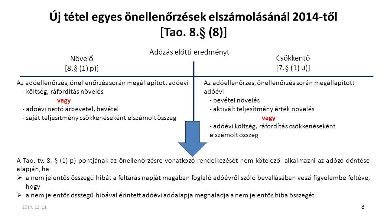 Új tétel egyes önellenőrzések elszámolásánál 2014-től [Tao. 8.§ (8)] 8 Az adóellenőrzés, önellenőrzés során megállapított adóévi - költség, ráfordítás