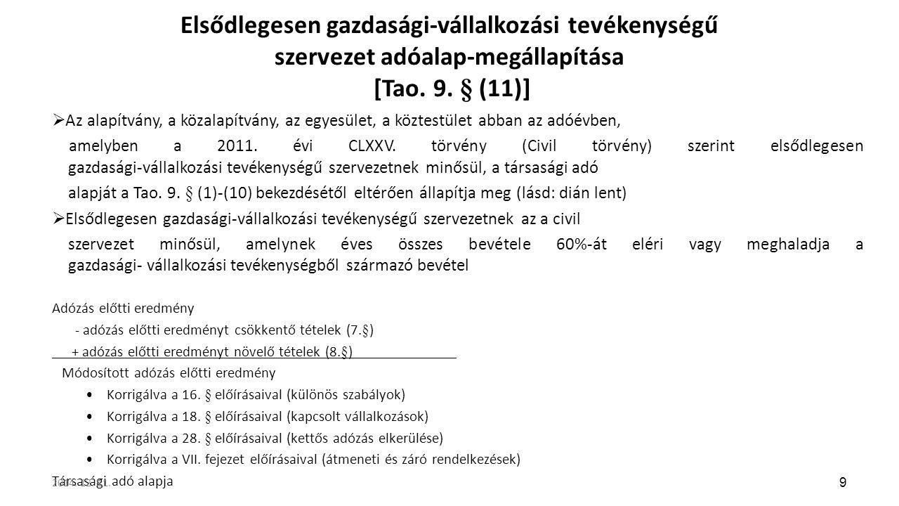 Elsődlegesen gazdasági-vállalkozási tevékenységű szervezet adóalap-megállapítása [Tao. 9. § (11)]  Az alapítvány, a közalapítvány, az egyesület, a kö