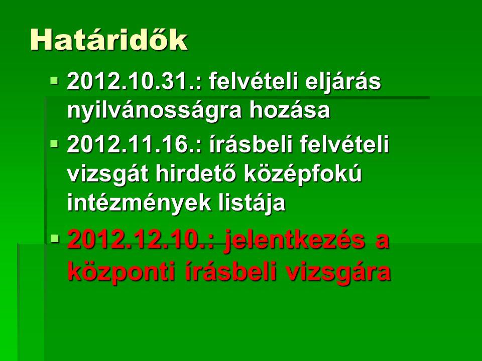Határidők  2012.10.31.: felvételi eljárás nyilvánosságra hozása  2012.11.16.: írásbeli felvételi vizsgát hirdető középfokú intézmények listája  2012.12.10.: jelentkezés a központi írásbeli vizsgára