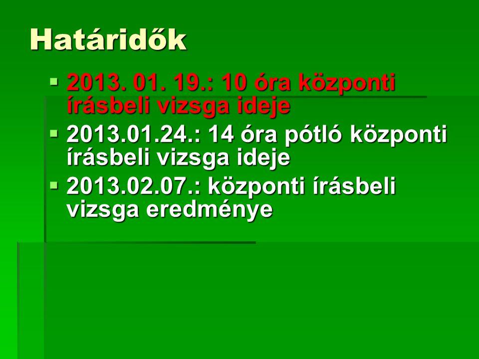 Határidők  2013. 01.