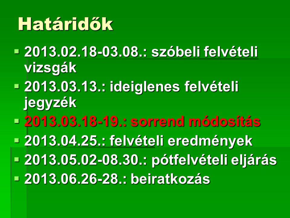 Határidők  2013.02.18-03.08.: szóbeli felvételi vizsgák  2013.03.13.: ideiglenes felvételi jegyzék  2013.03.18-19.: sorrend módosítás  2013.04.25.: felvételi eredmények  2013.05.02-08.30.: pótfelvételi eljárás  2013.06.26-28.: beiratkozás