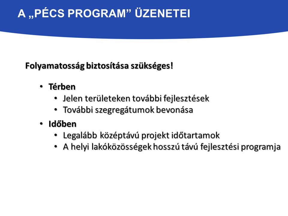 """A """"PÉCS PROGRAM"""" ÜZENETEI Folyamatosság biztosítása szükséges! Térben Térben Jelen területeken további fejlesztések Jelen területeken további fejleszt"""