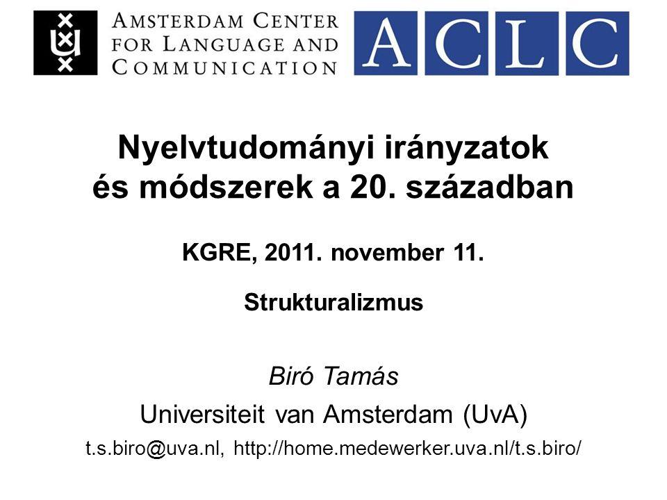 Nyelvtudományi irányzatok és módszerek a 20. században KGRE, 2011.