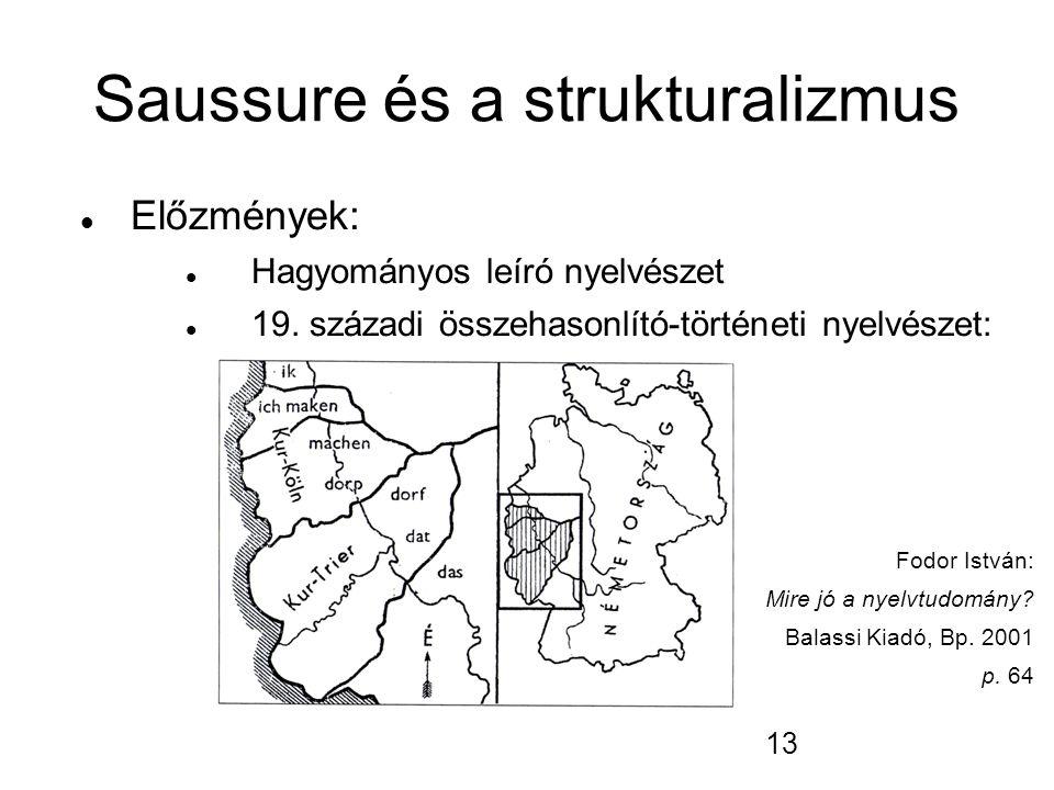 13 Saussure és a strukturalizmus Előzmények: Hagyományos leíró nyelvészet 19.