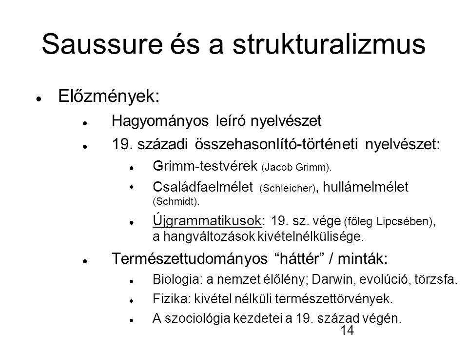 14 Saussure és a strukturalizmus Előzmények: Hagyományos leíró nyelvészet 19.