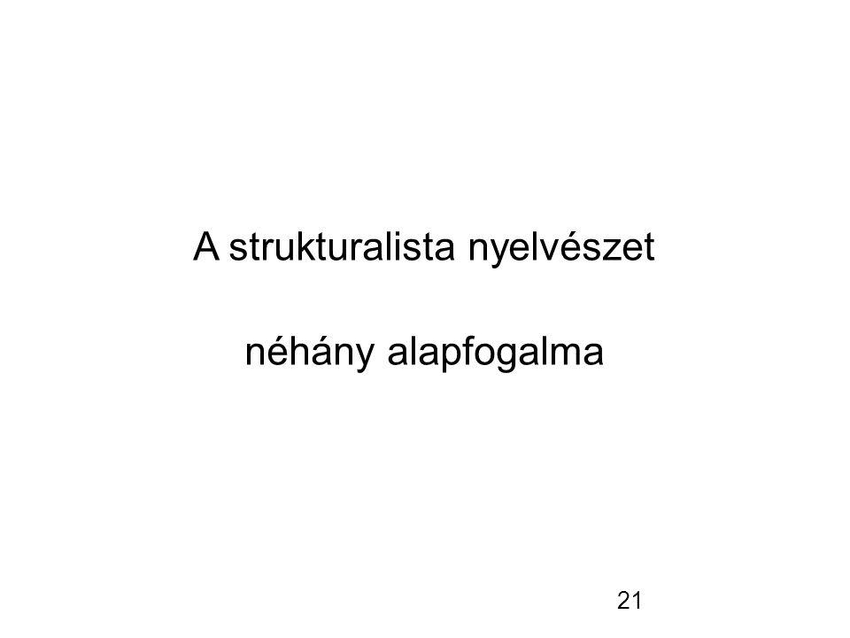 21 A strukturalista nyelvészet néhány alapfogalma