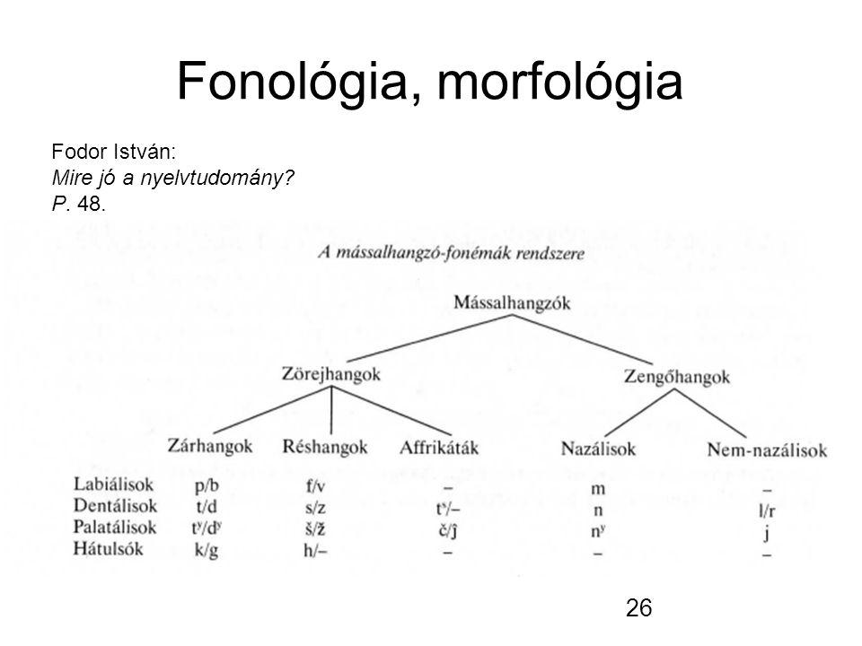 26 Fonológia, morfológia Fodor István: Mire jó a nyelvtudomány P. 48.