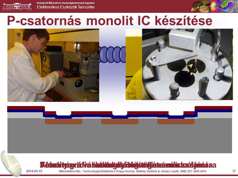 Budapesti Műszaki és Gazdaságtudomanyi Egyetem Elektronikus Eszközök Tanszéke 2014-09-19 Mikroelektronika - Technológiai áttekintés © Poppe András, Sz