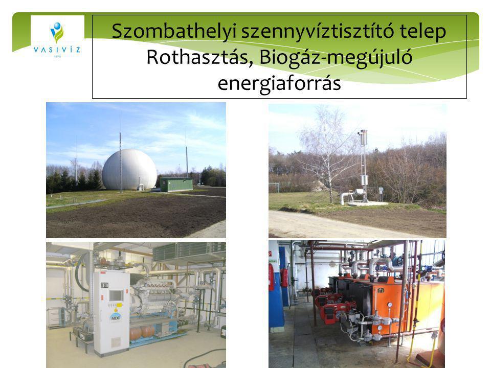 Szombathelyi szennyvíztisztító telep Rothasztás, Biogáz-megújuló energiaforrás