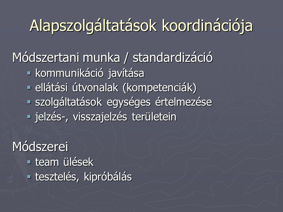 Alapszolgáltatások koordinációja Módszertani munka / standardizáció  kommunikáció javítása  ellátási útvonalak (kompetenciák)  szolgáltatások egységes értelmezése  jelzés-, visszajelzés területein Módszerei  team ülések  tesztelés, kipróbálás