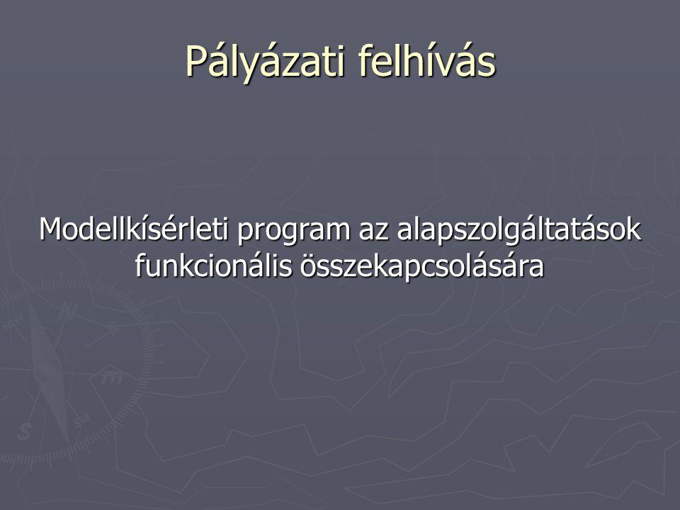 Pályázati felhívás Modellkísérleti program az alapszolgáltatások funkcionális összekapcsolására