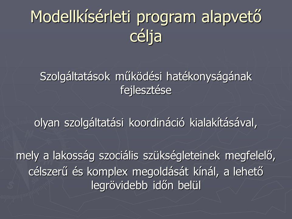 Modellkísérleti program alapvető célja Szolgáltatások működési hatékonyságának fejlesztése olyan szolgáltatási koordináció kialakításával, mely a lakosság szociális szükségleteinek megfelelő, célszerű és komplex megoldását kínál, a lehető legrövidebb időn belül