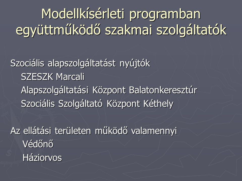 Modellkísérleti programban együttműködő szakmai szolgáltatók Szociális alapszolgáltatást nyújtók SZESZK Marcali Alapszolgáltatási Központ Balatonkeresztúr Szociális Szolgáltató Központ Kéthely Az ellátási területen működő valamennyi VédőnőHáziorvos