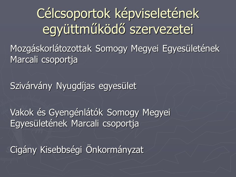 Projekt megvalósítása További feladatok A lakosság egészségügyi és szociális ismereteinek bővítése Lakossági tájékoztatók tartása Idősek számára 12 alkalommal:2014.03.05.- 2014.11.19.
