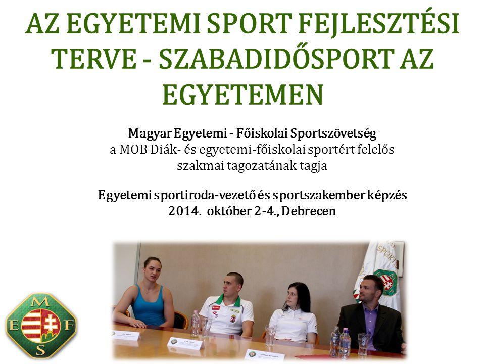 1860: Európa egyik első egyetemi és társadalmi sportegyesülete Selmecbányán (ma: SMAFC) 1907: Európában elsőként, a világon másodikként megalakul a Magyar Főiskolai Sportszövetség 1959: FISU (Fédération Internationale du Sport Universitaire) néven egységesül a nemzetközi egyetemi sport – Magyarország az alapítók között