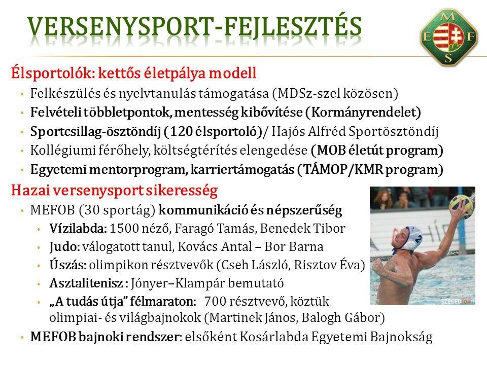 Élsportolók: kettős életpálya modell Felkészülés és nyelvtanulás támogatása (MDSz-szel közösen) Felvételi többletpontok, mentesség kibővítése (Kormány