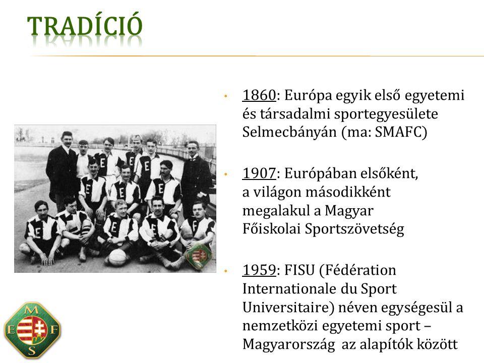 A hazai (és angolszász) felsőoktatási sport- hagyományok folytatása versenysport: életpálya-modell, nemzetközi részvétel szabadidősport: bevonás, tömegesítés, életmód infrastruktúra fejlesztés: stabilitás, fenntarthatóság  Ezt segítik a fontos együttműködések:  Központi sportirányítás (EMMI, MOB)  Sportági szakszövetségek  Felsőoktatási intézmények és egyetemi sportegyesületek  Testnevelők, sportszakemberek, klubok  Hallgatói önkormányzatok Az egyetemi sportfejlesztés céljai: