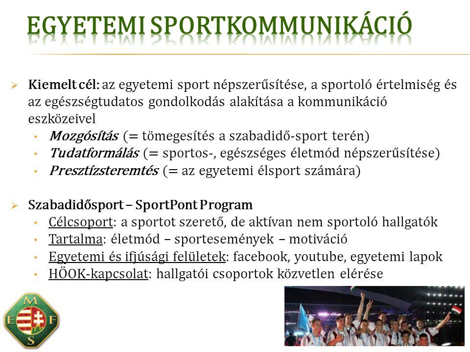  Kiemelt cél: az egyetemi sport népszerűsítése, a sportoló értelmiség és az egészségtudatos gondolkodás alakítása a kommunikáció eszközeivel Mozgósít