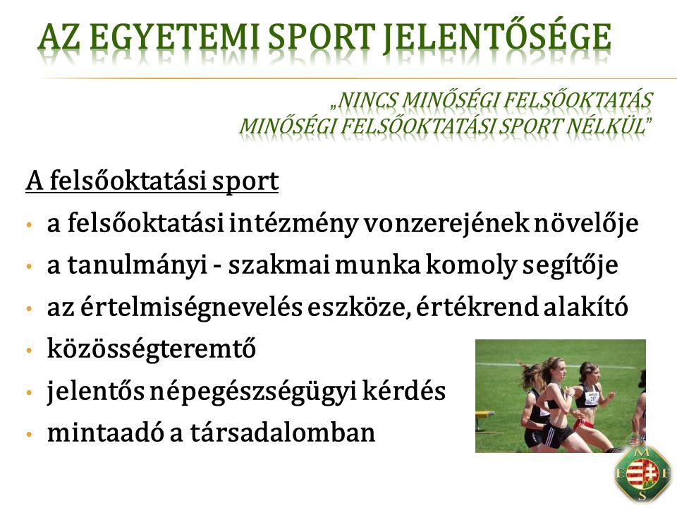 Egyetemi hallgató  Sportolás a tanulás mellett: testnevelés  Motiválás a sportra (SPP)  Sportélet koordinálása (Sportiroda)  Sportolás finanszírozása  Országos sportesemények Egyetemi élsportoló  Tanul, a sportolás mellett  Részt vesz az hazai és nemzetközi egyetemi sportban  Arca az egyetemi marketingnek  Egyetemi egyesületben sportol  Nemzetközi sportesemények Magyarországon Egyetemi sportinfrastruktúra  Egyetemi alapinfrastruktúra  Központi, sportági, városi, iskolai infrastruktúra
