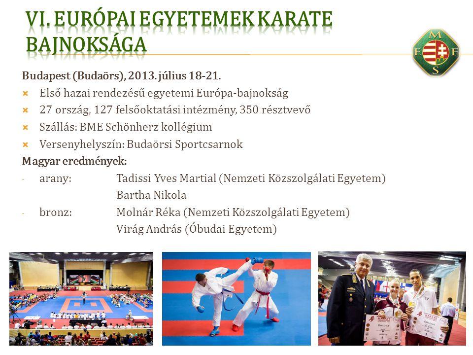 Budapest (Budaörs), 2013. július 18-21.  Első hazai rendezésű egyetemi Európa-bajnokság  27 ország, 127 felsőoktatási intézmény, 350 résztvevő  Szá