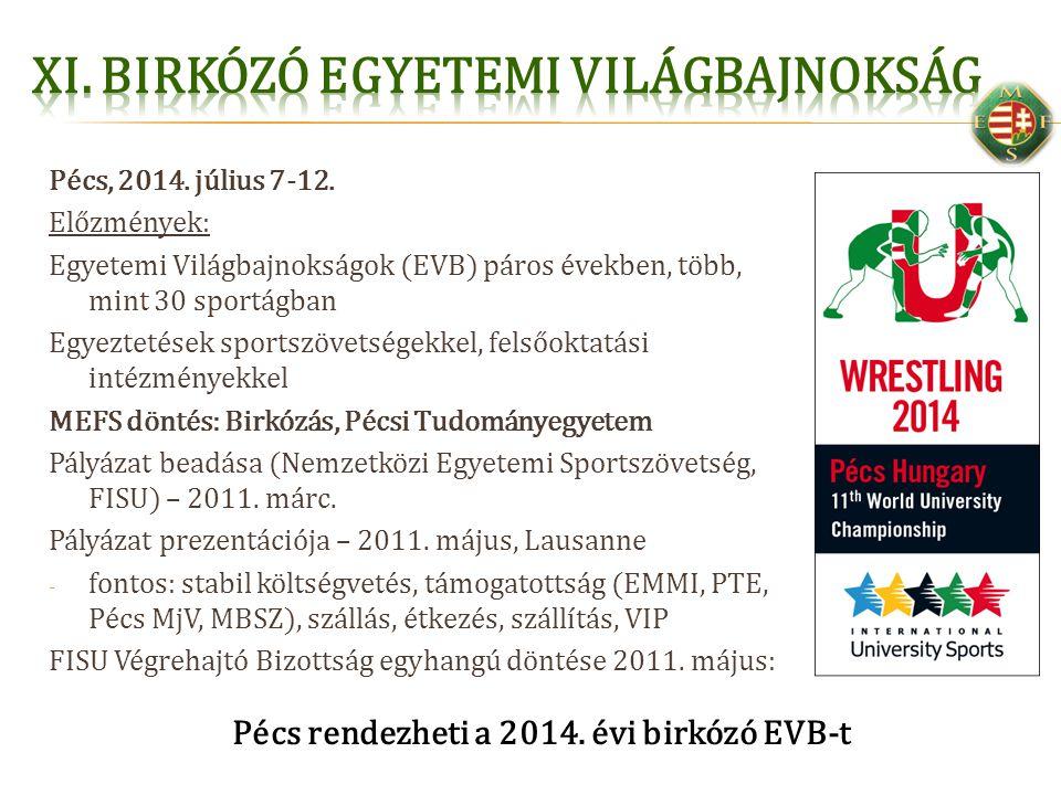 Pécs, 2014. július 7-12. Előzmények: Egyetemi Világbajnokságok (EVB) páros években, több, mint 30 sportágban Egyeztetések sportszövetségekkel, felsőok