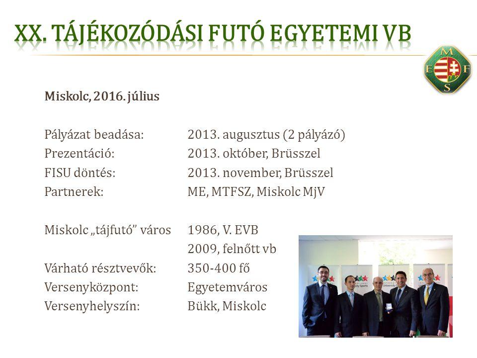 Miskolc, 2016. július Pályázat beadása:2013. augusztus (2 pályázó) Prezentáció:2013. október, Brüsszel FISU döntés:2013. november, Brüsszel Partnerek: