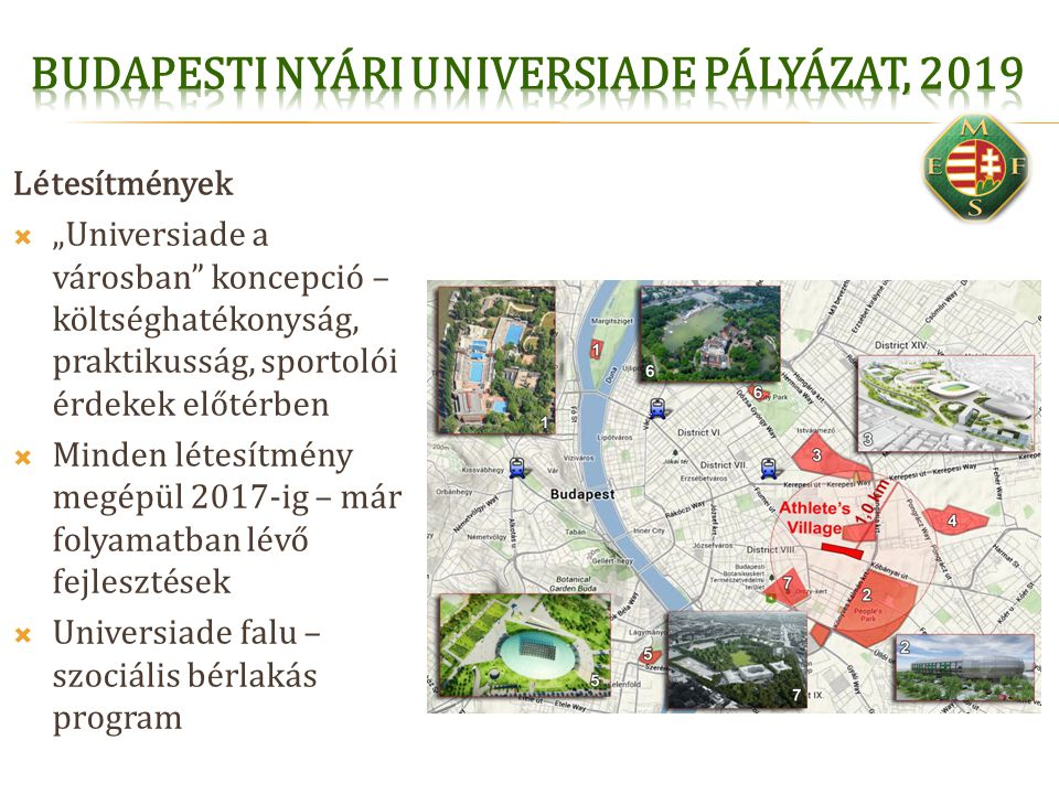 """Létesítmények  """"Universiade a városban"""" koncepció – költséghatékonyság, praktikusság, sportolói érdekek előtérben  Minden létesítmény megépül 2017-i"""